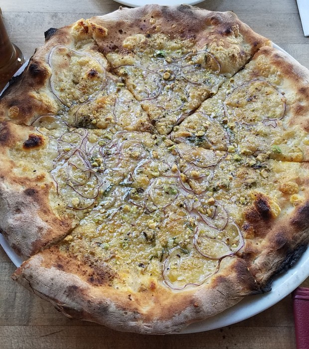 The Rosa, this legend and star attraction has red onion, parmigiano reggiano, rosemary, and Arizona pistachios.